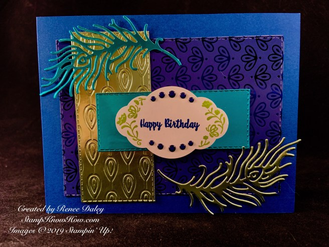Peacock Birthday card featuring the label me pretty stamp set