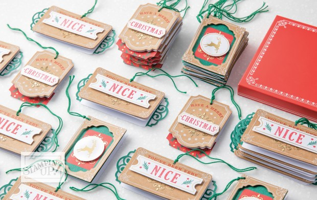 Image of assembled Joy of Giving tags by Stampin' Up