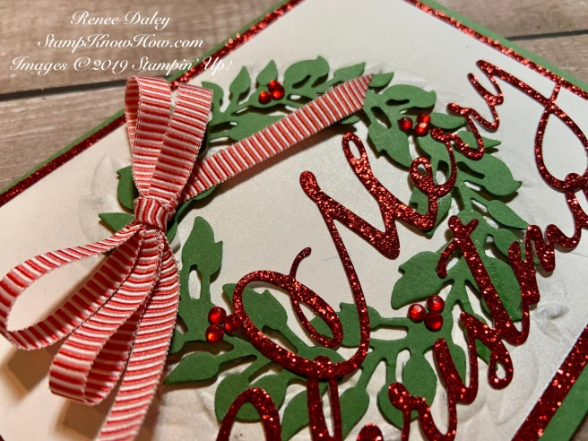 Image of Merry Christmas Wreath card that uses die cuts from Stampin' Up