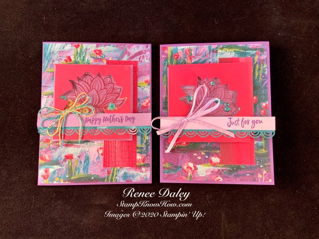 Image of two versions of the Lovely Lily Pad Shaker Card
