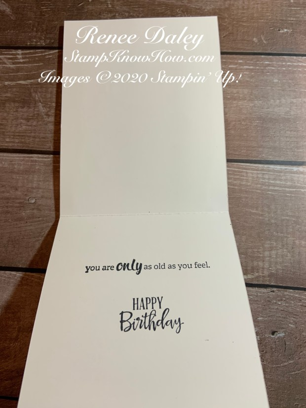 Inside view of Young at Heart Birthday Card