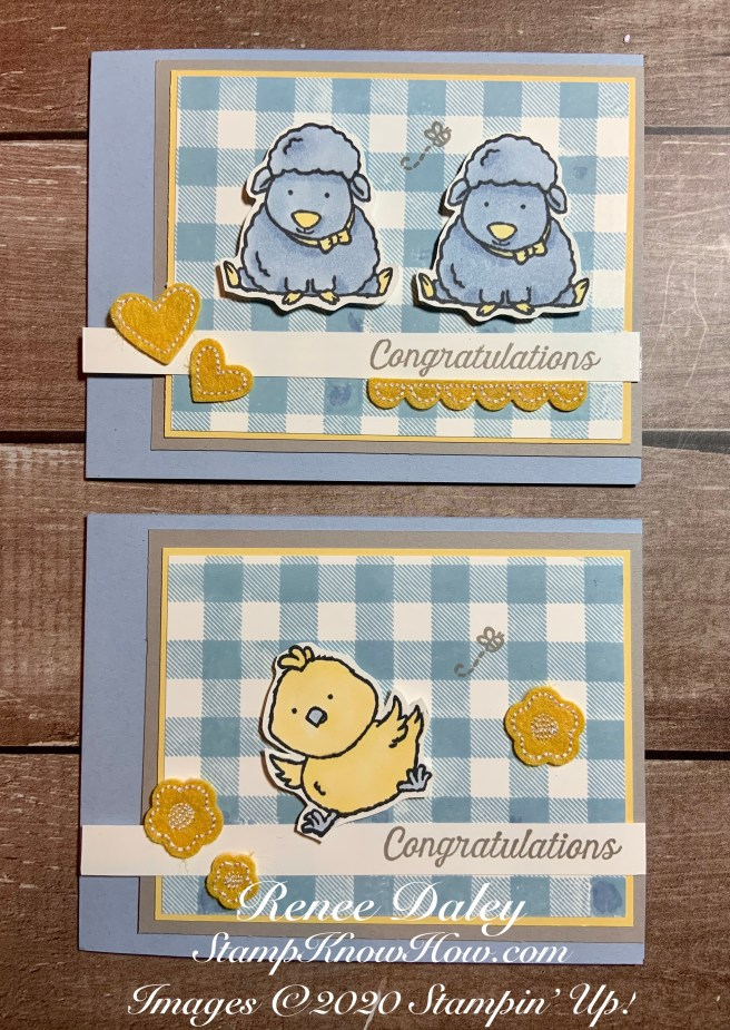 Image of two sample baby cards using the Welcome Easter Stamp Set by Stampin' Up