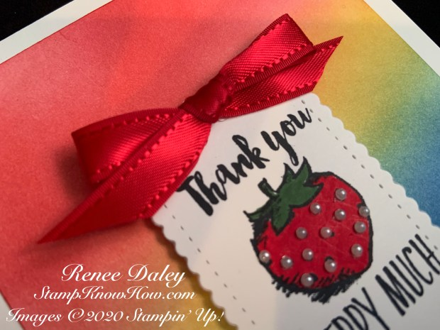 Closeup image of the Witty-cisms Thank You card using Stampin Up products