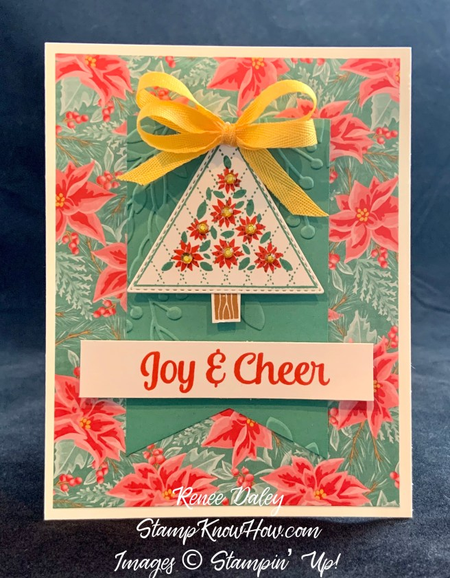 Tree Angle Poinsettia Christmas Card Image