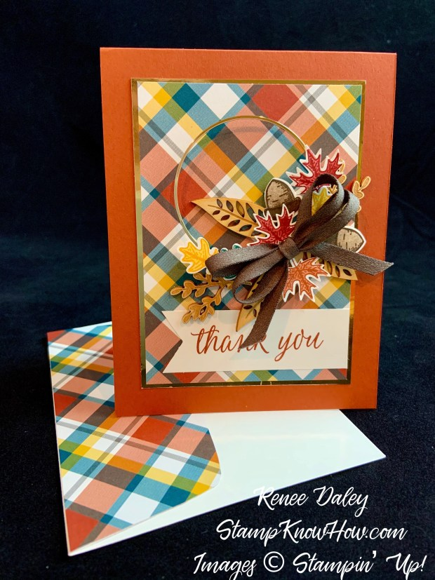 Beautiful Autumn Thank You Card with coordinating envelope made with Stampin Up products