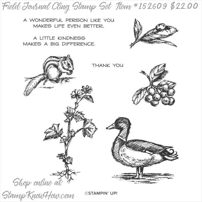 Stampin Up Field Journal Cling Stamp Set