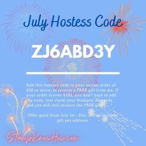 StampKnowHow July 2021 Hostess Code