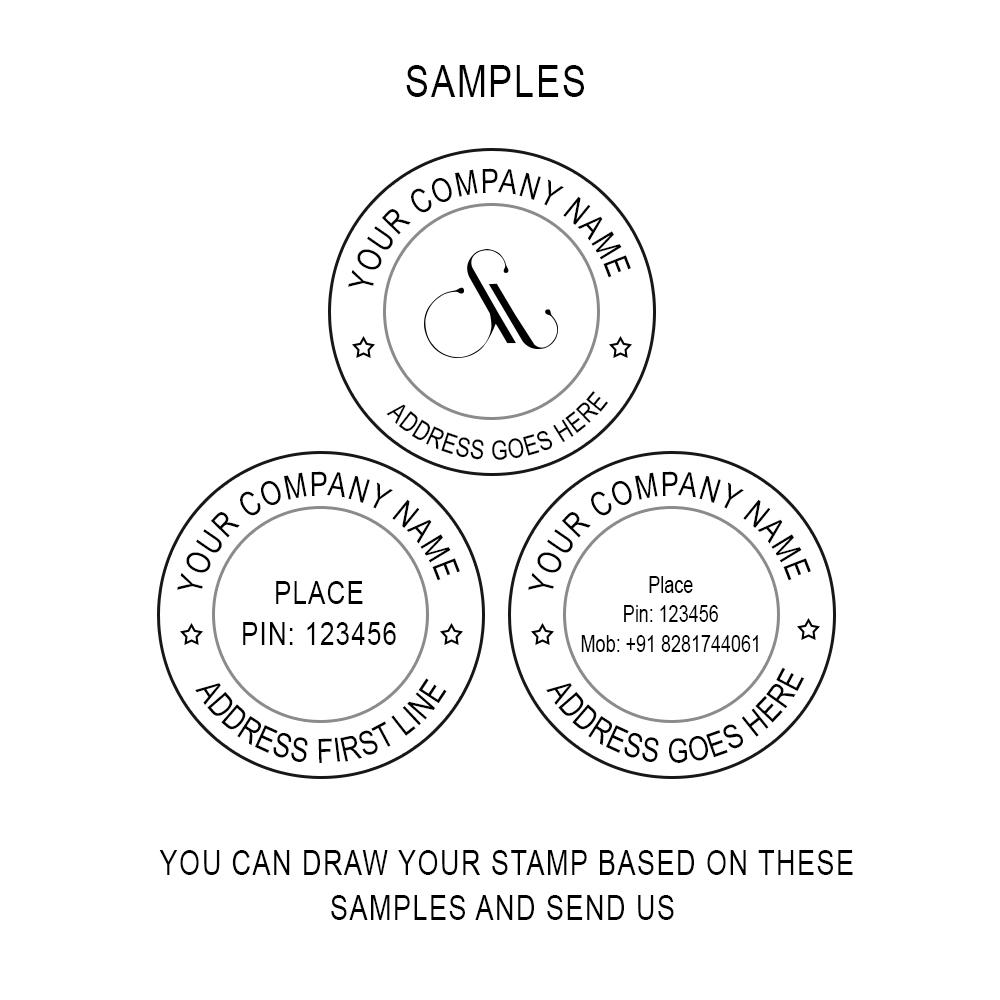 Pre Ink Round stamp, self ink round stamp, Pre Ink stamp
