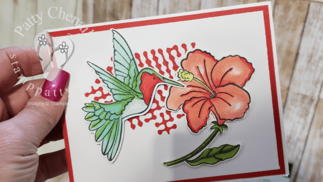 Make someones day by making a card and sending that card!  I created this beauty using the Humming Along bundle and the under used Poppy Parade color.