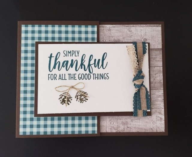 Featuring the Come to Gather designer paper and the Country Home stamp set all from Stampin' Up!  Nothing says fall like gingham and hardwood!  Adorned with some pinecones just to add a little flair.