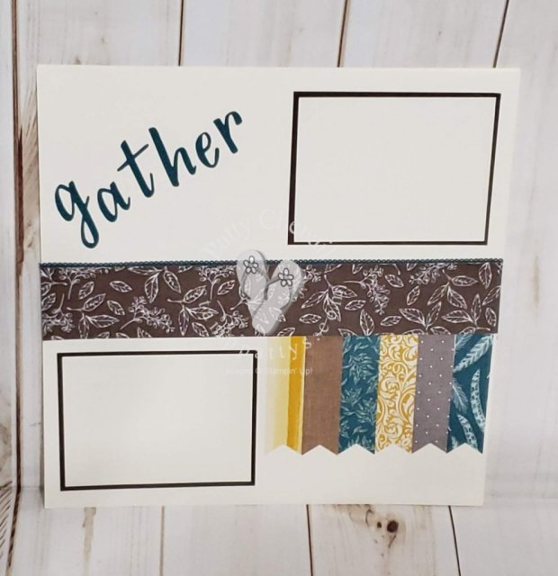 Using four different designer paper scraps, I created this double page layout.  Useful for displaying a gathering of any type!