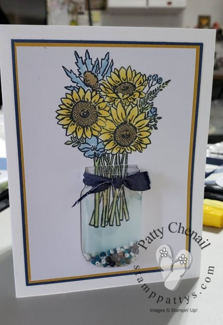 Sneak Peek at the June 2020 class to go from Stamp-Pattys. This class features the Jar of Flowers stamp set/bundle from the 2020-2021 Annual Stampin' Up! Catalog.