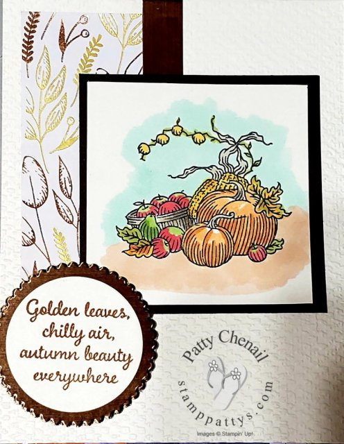 Using the Autumn Goodness stamp set from the Stampin' Up!  August-December 2020 Mini Catalog, I created this awesome project.  Add some coloring tools (Stampin' Blends) and you have a masterpiece!