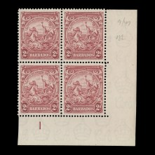 plate block with extra frame line on top left stamp