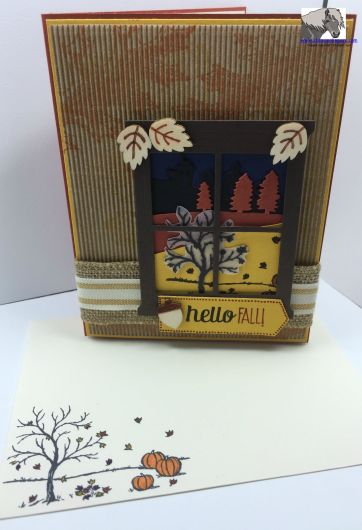 Hello Fall Sleigh Ride SB117 card and envelope watermarked