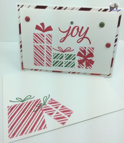 Your Presents Joy card and envelope watermarked