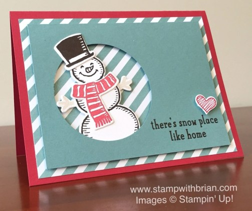 Snow Place, Something to Say, Stampin' Up!, Brian King, snowman Christmas card