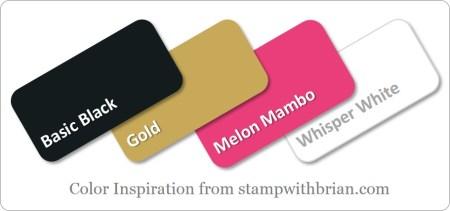 Stampin' Up! Color Inspiration: Basic Black, Melon Mambo, Gold, Whisper White