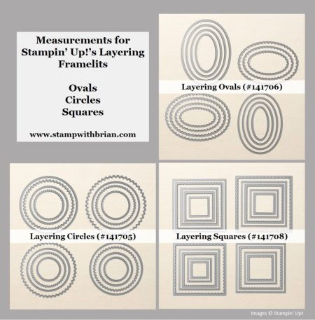 Measurements for Stampin' Up!'s Layering Framelits, Brian King