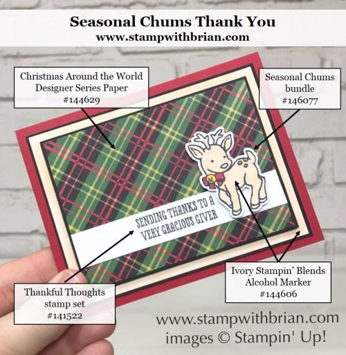 Seasonal Chums, Thankful Thoughts, Stampin' Up!, Brian King, Christmas thank you card