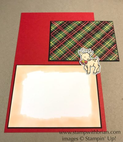 Use Stampin' Blends to cover a panel on your card. Seasonal Chums, Thankful Thoughts, Stampin' Up!, Brian King, Christmas thank you card