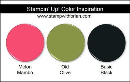Stampin' Up! Color Inspiration: Melon Mambo, Old Olive, Basic Black