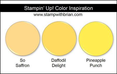 Pineapple Punch Comparison, Stampin' Up! 2018-2020 In Color: So Saffron, Daffodil Delight