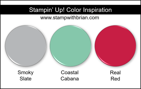 Stampin Up! Color Inspiration - Smoky Slate, Coastal Cabana, Real Red