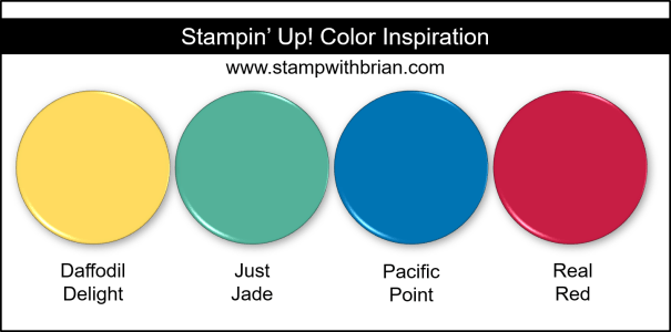 Stampin' Up! Color Inspiration - Daffodil Delight, Just Jade, Pacific Point, Real Red