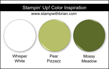 Stampin Up! Color Inspiration - Whisper White, Pear Pizzazz, Mossy Meadow