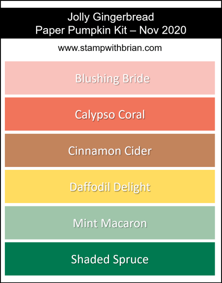 Stampin Up! Color Inspiration - Nov 2020 Paper Pumpkin - Blushing Bride, Calypso Coral, Cinnamon Cider, Daffodil Delight, Mint Macaron, Shaded Spruce