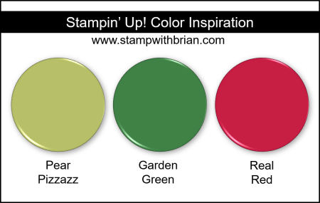 Stampin Up! Color Inspiration - Pear Pizzazz, Garden Green, Real Red