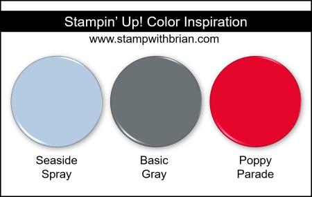 Stampin Up! Color Inspiration - Seaside Spray, Basic Gray, Poppy Parade