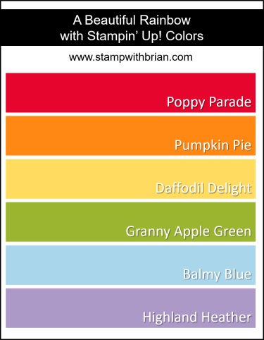 Stampin Up! Color Inspiration - Poppy Parade, Pumpkin Pie, Daffodil Delight, Granny Apple Green, Balmy Blue, Highland Heather