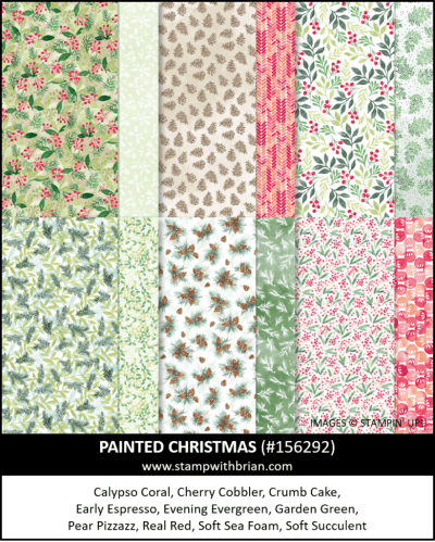 Painted Christmas Designer Series Paper, Stampin Up! 156292