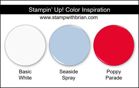 Stampin Up! Color Inspiration - Basic White, Seaside Spray, Poppy Parade