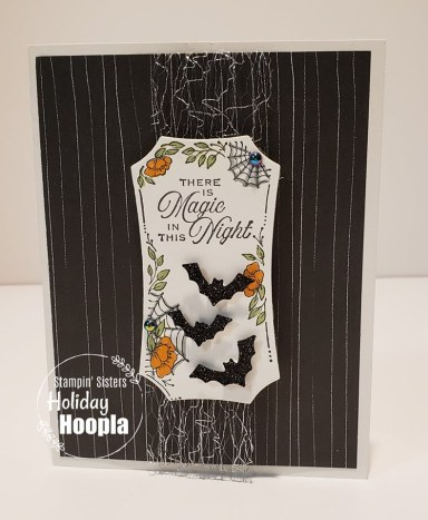 """Magic in This Night Suite, Hallow's Night Magic Stamp Set, Halloween Magic Dies, Magic in This Night Designer Paper, 1 1/2"""" Metallic Mesh Ribbon, Black Glitter Paper, Iridescent Pearls, Cobwebs 3D Embossing Folder,Holiday Hoopla, Stamp with Peggy"""