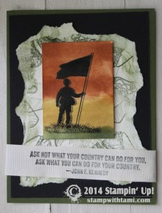 Stampin Up For Your Country stamp set card - soldier military veterans