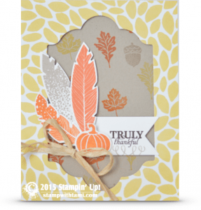 stampin up paper pumpkin four feathers card idea