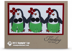hula penguins stmapin up snow play stamp set