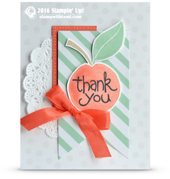 stampin up apple of my eye card thank you