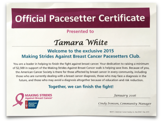 stampin up breast cancer pace setters club fundraiser cancer society