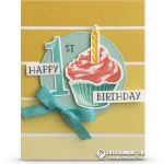 RETIRING: Happy 1st Birthday Card from Sweet Cupcakes