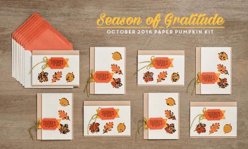 October 2016 Season of Gratitude Paper Pumpkin kit… #stampyourartout - Stampin' Up!® - Stamp Your Art Out! www.stampyourartout.com