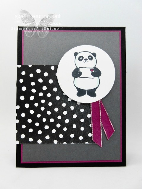 Here is a sneak peek at new products coming out in the 2018 Occasions Catalog and Sale-A-Bration Brochure. I made two versions of this card…one with the Party Pandas stamp set and the Berry Burst Metallic-Edge Ribbon and one with the Petal Palette stamp set and the Sale-a-Bration Shimmer Ribbon pack. Both cards feature the new Petal Passion Designer Paper and have images colored in with Stampin' Blends markers. Click here for directions!...#stampyourartout #stampinup - Stampin' Up!® - Stamp Your Art Out! www.stampyourartout.com