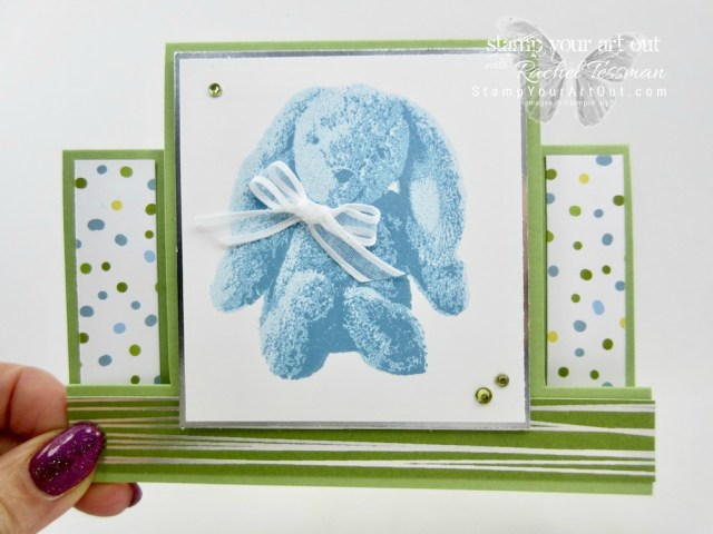 Click here for measurements AND to watch my quick video to see how I made this sweet Center Step fun fold card featuring the adorable bunny 3-step image from the Sweet Little Something stamp set in the new 2018 Occasions Catalog...#stampyourartout #stampinup - Stampin' Up!® - Stamp Your Art Out! www.stampyourartout.com