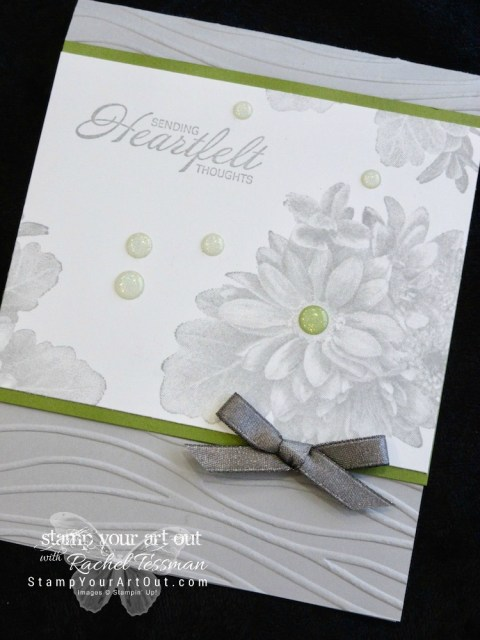 Click here for supplies, measurements AND to watch my quick video to see how to make this simple yet eye-catching card featuring Stampin' Up!'s #1 Sale-A-Bration stamp set: Heartfelt Blooms. I'll also share some simple basics for using the Big Shot embossing and die-cutting tool. If you've never used these Dynamic Embossing Folders, you will be amazed at the ease...#stampyourartout #stampinup - Stampin' Up!® - Stamp Your Art Out! www.stampyourartout.com