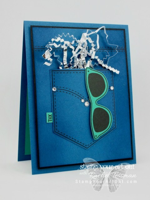 Click here for supplies, measurements AND to watch my quick video to see how to make this denim pocket card using the beautiful 2016-18 In Colors, stamp set images from Pocketful of Sunshine, coordinating Pocket Framelits dies, and some sparkling embellishments...#stampyourartout #stampinup - Stampin' Up!® - Stamp Your Art Out! www.stampyourartout.com