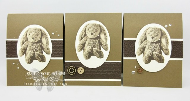 """Adorable bunny card made with Sweet Little Something stamp set and the Petal Pair embossing folders. A easy layout makes a great Easter, Baby or """"Hip Hop Hooray"""" card...#stampyourartout #stampinup - Stampin' Up!® - Stamp Your Art Out! www.stampyourartout.com"""
