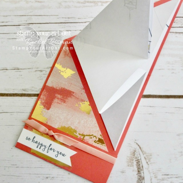 Click here for supplies, measurements AND to watch my quick video to see how to make a Diagonal Tuck Explosion Fun-Fold Card using the retiring Color Me Happy Stamp Set, Painted Love Gold Vinyl Stickers, and Painted With Love Designer Series Paper...#stampyourartout #stampinup - Stampin' Up!® - Stamp Your Art Out! www.stampyourartout.com